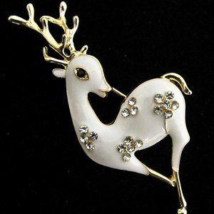 Bambi FAWN White DEER Rhinestone Reindeer Brooch